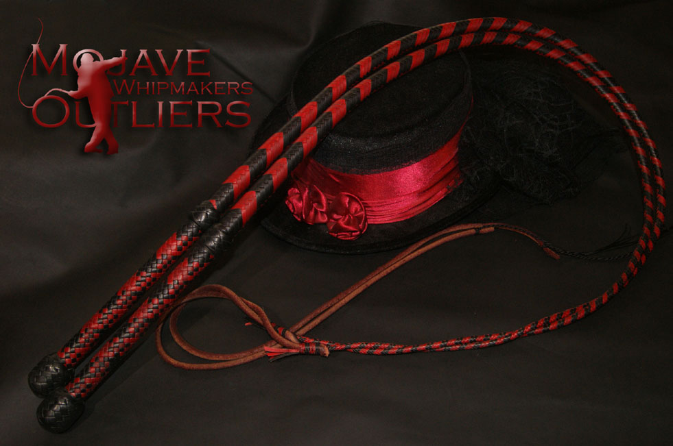 2x Red and Black Kangaroo Leather Mini Bullwhips