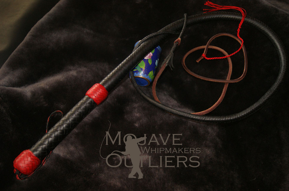 Mojave Outliers Whipmakers 4ft 16 plait mini bullwhip in black with red knots