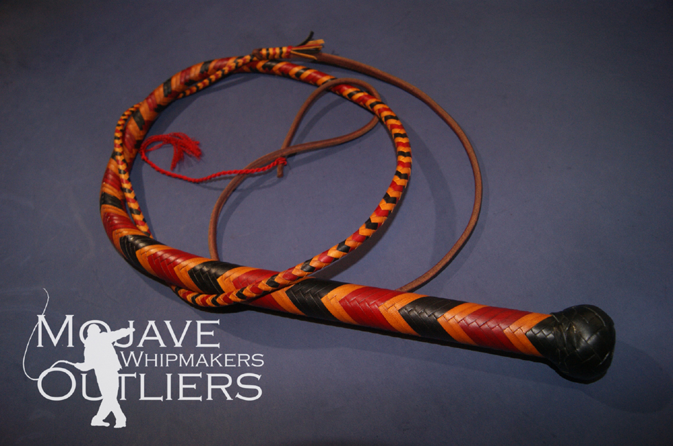 Mojave Outliers Whipmakers 4 ft 24 plait mini bullwhip in coral snake pattern