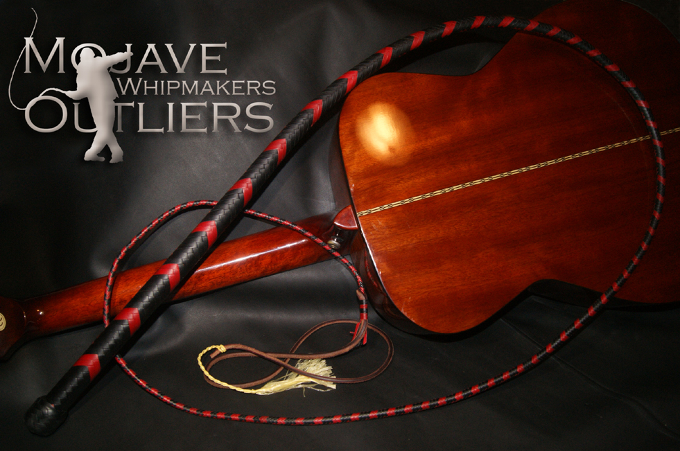 Mojave Outliers Whipmakers 7ft 16 plait Bullwhip DC Red and Black kangaroo hide leather