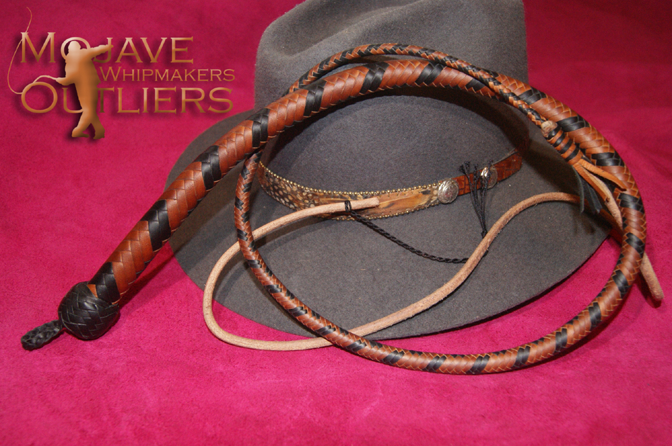 Mojave Outliers Whipmakers Budget Boudoir kangaroo leather Mini Pocket Snake Whip Whiskey with black chevrons