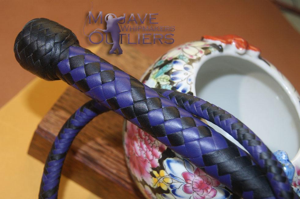 BB Black and Purple mini snake whip handle detail