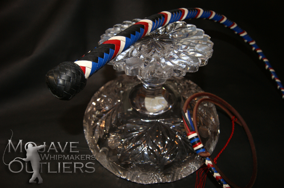 BB Whip in Leather Pride colors!  Black and blue kangaroo leather, with red and white alternating chevrons!