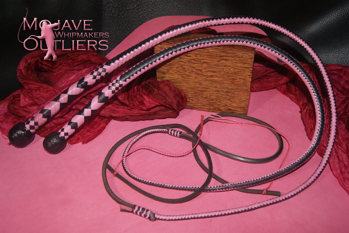 Mojave Outliers 3ft 12 plait Budget Boudoir Bullwhip & Snake whip, black & pink hearts Valentine's Day