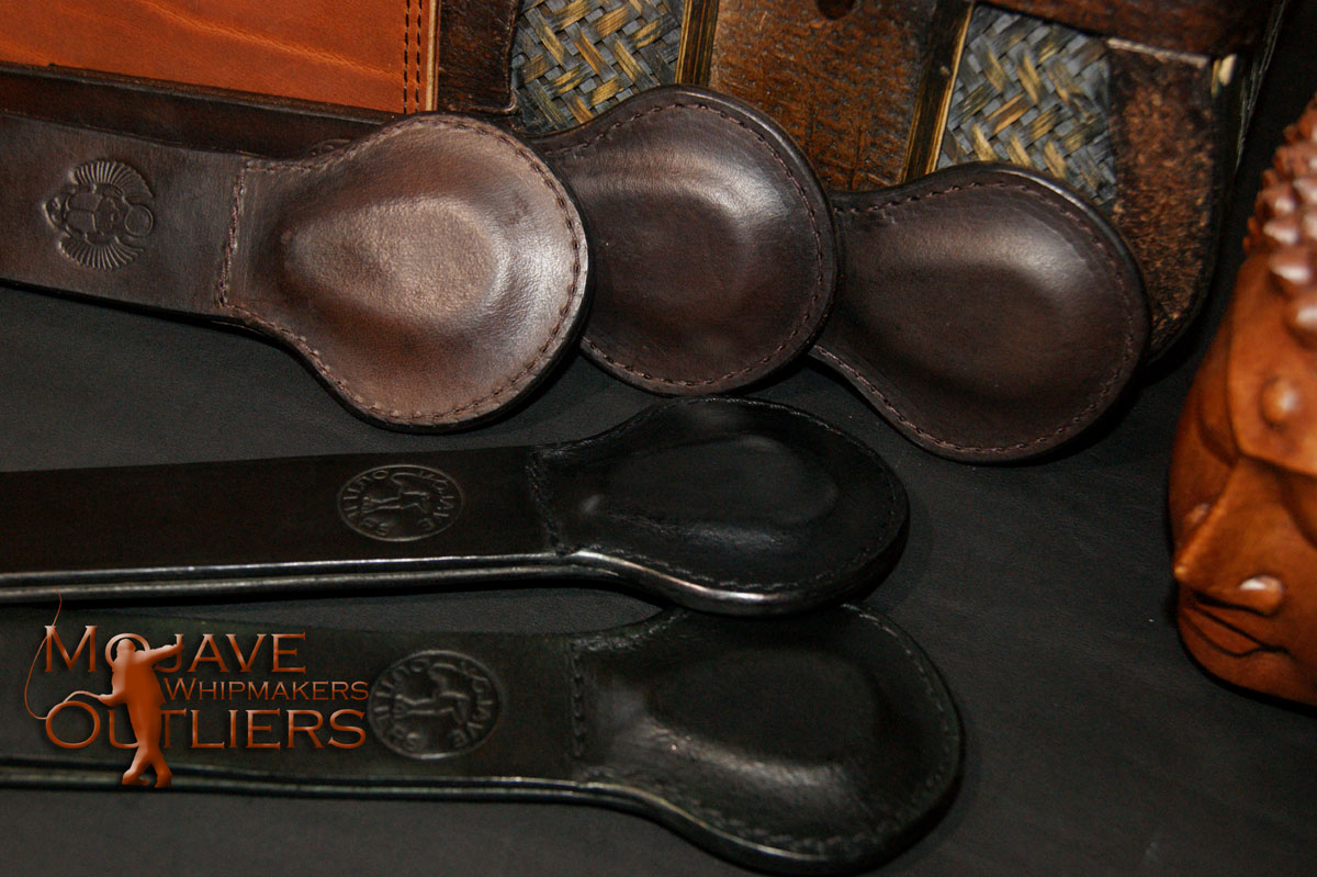 """Pocket Paddles in """"Show Brown"""" (top three) and black (bottom two).  Note the scarab stamp on the topmost show brown Pocket Paddle..."""